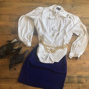 White and black blouse